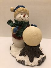 Snowman Figurine with Lighted Snowball Snow globe Christmas Holiday Decor