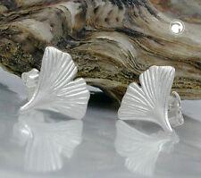 Stecker 9mm Ginkgoblatt matt Silber 925