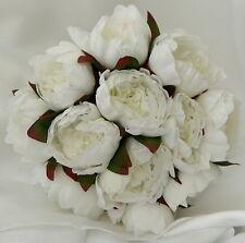 Silk Wedding Bouquets Shabby Rose Flower White Peonie Peony Bouquet Posy Flowers