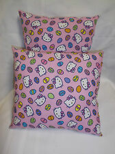 "HELLO KITTY with EASTER EGGS Pillow  ""All Print""  10"" x 10"""