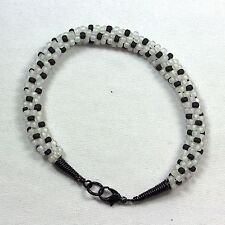 Designer Kumihimo Bracelet White & Black Polka Dots-Hand-Forged End Caps