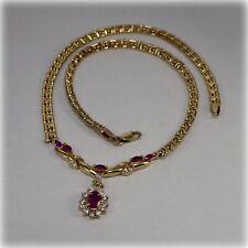 9ct Gold Ruby & Cubic Zirconia Pendant on Greek Key Necklet