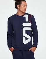 Fila Heritage Logo Empire Mens Sweatshirt Blue Size M Pullover Casual Crew Top