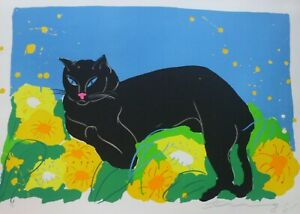 """WALASSE TING 丁雄泉 """"Black Cat"""" 1981 HAND SIGNED lithograph CHINESE/US ARTIST"""