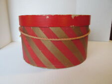 Vintage 12 inch Gage 5th Avenue Cardboard Hat Box , Stripes , Rope Handle