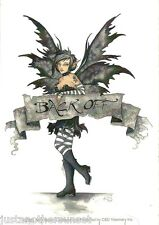 Amy Brown Sticker Decal Fairy Faery Back Off Banner Black White Grey Attitude