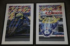 Senna and Piquet Formula One Prints by Randy Owens SIGNED (1986)