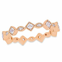 10k Rose Gold Created White Sapphire Stackable Infinity Eternity Band