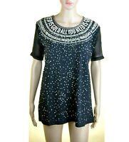 T-Shirt Maglietta Donna Top PINKO TAG Maglia SA767 Nero Strass e Perline Tg S M