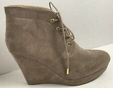 Forever 21 Faux Suede Wedge Platform Ankle Boots Lace Up Booties 10 Beige