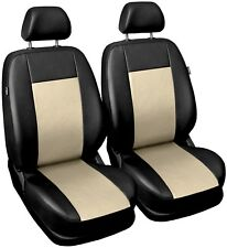 Front Cream Leatherette seat covers fit Toyota Corolla 1+1 black/beige