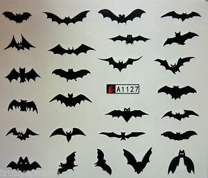 Nail Art Water Decals Stickers Halloween Scary Black Bats Gel Polish (A1-127)