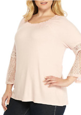 New Directions Feminine  Lace Bell Sleeves Stretch Ribbed Tunic Top 3X Pale Pink