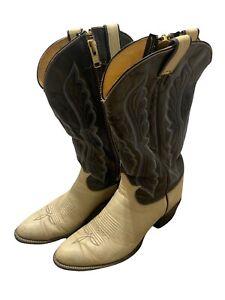 Tony Lama Boots Style 6915 Sz 9 1/2 E Cream Black Blue Gray Cowboy Boots Zipper