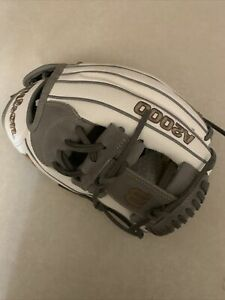 wilson a2000 12 inch Fast pitch Infield White And Gray Gold Letter