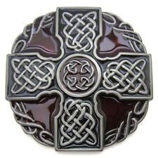 Red and Black Celtic Irish Knot Rope Belt Buckle Mens Western Mesh Medieval Gift