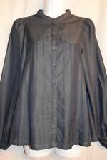 H&M NOW: womens sz 4 // dark pleated denim - L/S button up shirt
