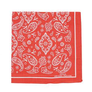 Isaia Red and White Paisley Bandana Print Lightweight Cotton Handkerchief