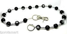 "Mens Ladies Black Bead Beads KeyChain Jean Chain Silver Fashion Biker Gothic 32"""