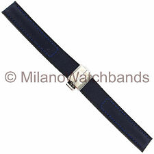 16mm Hirsch Corvette Buckle Navy Kevlar with Genuine Leather Backing Watch Band