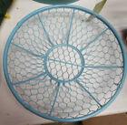 Decorative Chicken Wire Nesting Storage Basket Farmhouse Rustic Blue Bowl