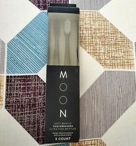 Moon Soft Bristle Toothbrushes Ultra Fine Tapered Bristles 2 Count Lightweight