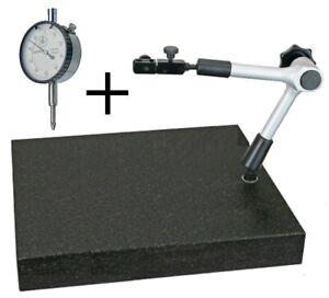 massiver Messtisch Granitplatte 300 x 200 x 50 mm + Meßstativ zentrale Klemmung