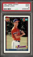 1991 Topps Tiffany #333 Chipper Jones Rookie RC PSA 9 Mint 2018 HOF Set Break !