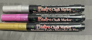 NEW SEALED LOT Of 3 MARVY BISTRO METALLIC CHALK MARKERS SILVER, GOLD & Pink