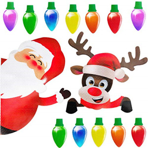 Christmas Car Refrigerator Decorations Reflective Bulb Light Santa Reindeer Set