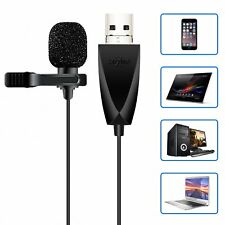 USB Microphone, ZAFFIRO Lavalier Mic Lapel Clip on Microphone for Computer PC,