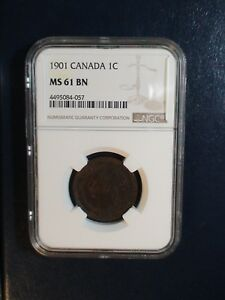 1901 Canada LARGE Cent NGC MS61 BN 1C Coin PRICED TO SELL RIGHT NOW!
