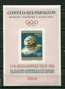 Paraguay 1964 Souvenir Sheet  Olympic Games Tokyo Space Imperf   MNH 7400