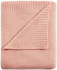 """Ink+Ivy 50"""" x 60"""" Throw Blanket Bree Classic Acrylic Knit Pink A9Z265"""
