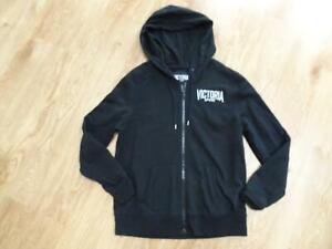 VICTORIAS SECRET SPORT ladies black hooded zip thru jumper hoodie MEDIUM UK 12