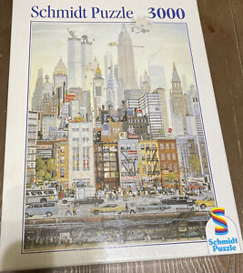 Schmidt 3000 Piece NEW YORK City Puzzle Twin Towers Times Square 1986 Rare