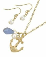 ICON Gold ANCHOR Nautical Blue Bead Necklace & Pearl Drop Earrings Set NWT New
