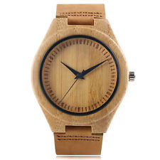 Brief Bamboo Nature Wood Genuine Leather Strap Sport Women Quartz Wrist Watch