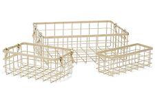Retro Iron Baskets Organizers Antique Finish Set of 3 Multi Sized Storage Basket