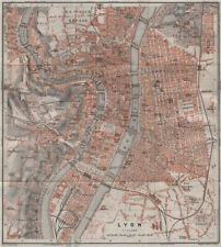 Lyon lyon antique ville city plan de la ville. rhône carte. baedeker 1907 carte