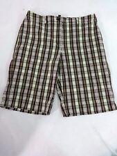 JONES NEW YORK WOMENS BROWN & GREEN PLAID COTTON BLEND CASUAL SHORTS SIZE 10
