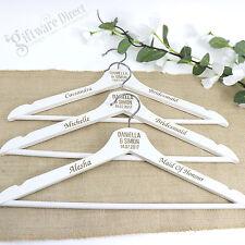 Engraved Personalised White Timber Coat Hanger Wedding