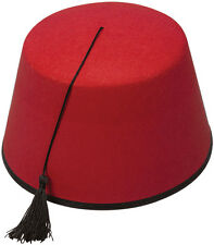 Red fez hat Moroccon Arabian Aladdin Tommy Cooper fancydress costume accessory