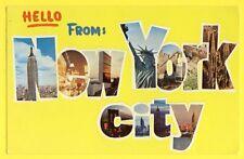Post Card USA HELLO From NEW YORK CITY stamp USAirmail Blanche Stuart Scott