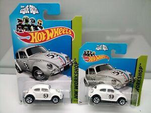 Hot Wheels / VW Beetle - Herbie The Love Bug - Long & Short Card - Model Cars x2