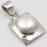 Oval Cabochon Pearl Pendant 925 Sterling Silver Modern Women Jewelry
