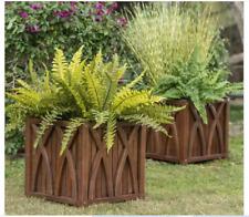 Set of 2 Rustic Dark Brown Wood Square Planters Box Patio Outdoor Garden Raised