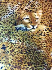 "Fleece fabric yellow leopard cheetah animal safari jungle print, 60"" w sold BTY"