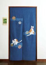 Noren japanese hanging curtain Neko cat plaing Mari ball 175x85cm made in japan