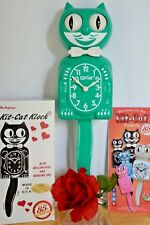"NEW AUTHENTIC Kit Cat Clock"" Green Beauty"" Made In USA Ship Priority in 48 Hrs."